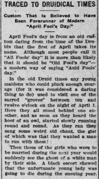 April Fools traced to drudical times