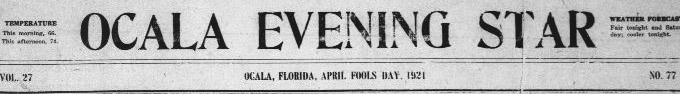 Ocala Evening Star April Fools Masthead