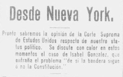 Snippet from La Correspondencia- 1903