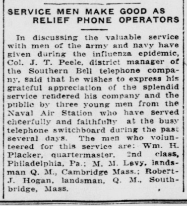 Service Men make good relief phone operators