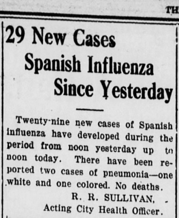 29 New Cases Spanish Influenza