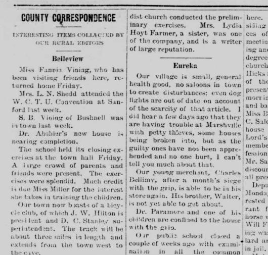 Eureka County Correspondence