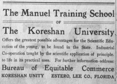 Koreshan University Ad