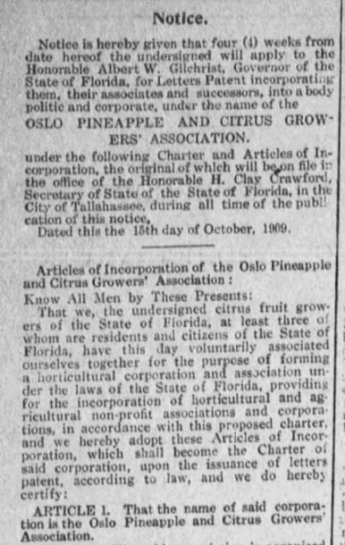 Oslo Pinapple and Citrus Growers