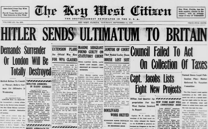 Hitler Sends Ultimatum to Britain