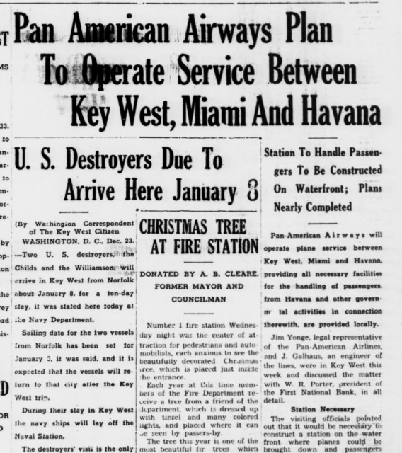 Pan-Am Airways servcie between KW Miami and Havana