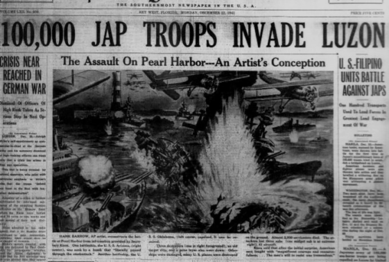 """Digitized Copy of The Key West Citizen with a headline that reads """"100,000 Jap Troops Invade Luzon"""" it also features an artist's conception of the Pearl Harbor attack created by Hank Barrow, who worked for the Associated Press"""