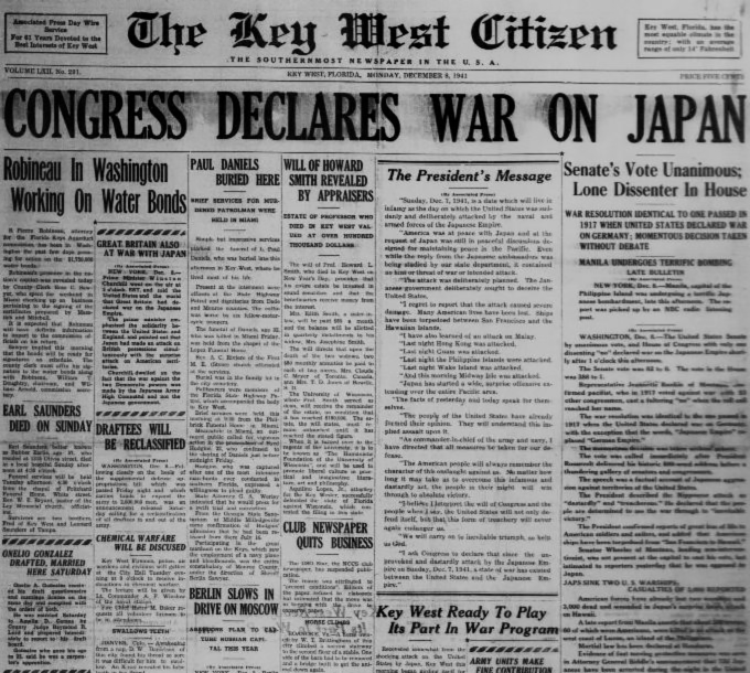 "Digitized Copy of The Key West Citizen with a headline that reads ""Congress Declares War on Japan."""