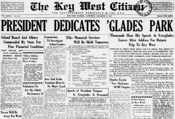 """Digitized Copy of The Key West Citizen with a headline that reads """"President Dedicated 'Glades Park"""""""