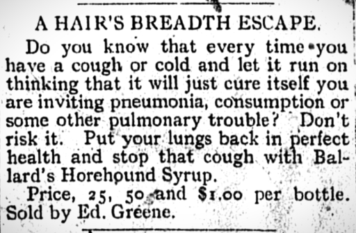Newspaper article with advertisment for Ballard's Horehound Syrup