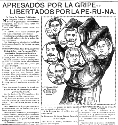 "Article with illustration of 6 illustrated faces in a dark hand labeled ""gripe"""