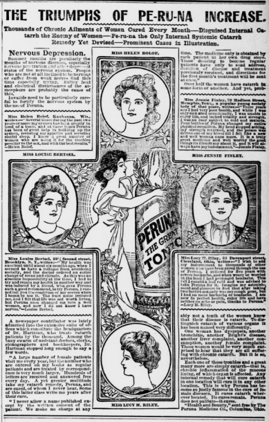 Article surrounding cross illustration with names and illustrations of four women. Anothe in the center lays a wreath on a bottle of peruna