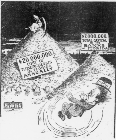 Political cartoon showing the people balking at the cost tag of turberculosis in Florida each year. A grim reaper sits on top of the pile of money.